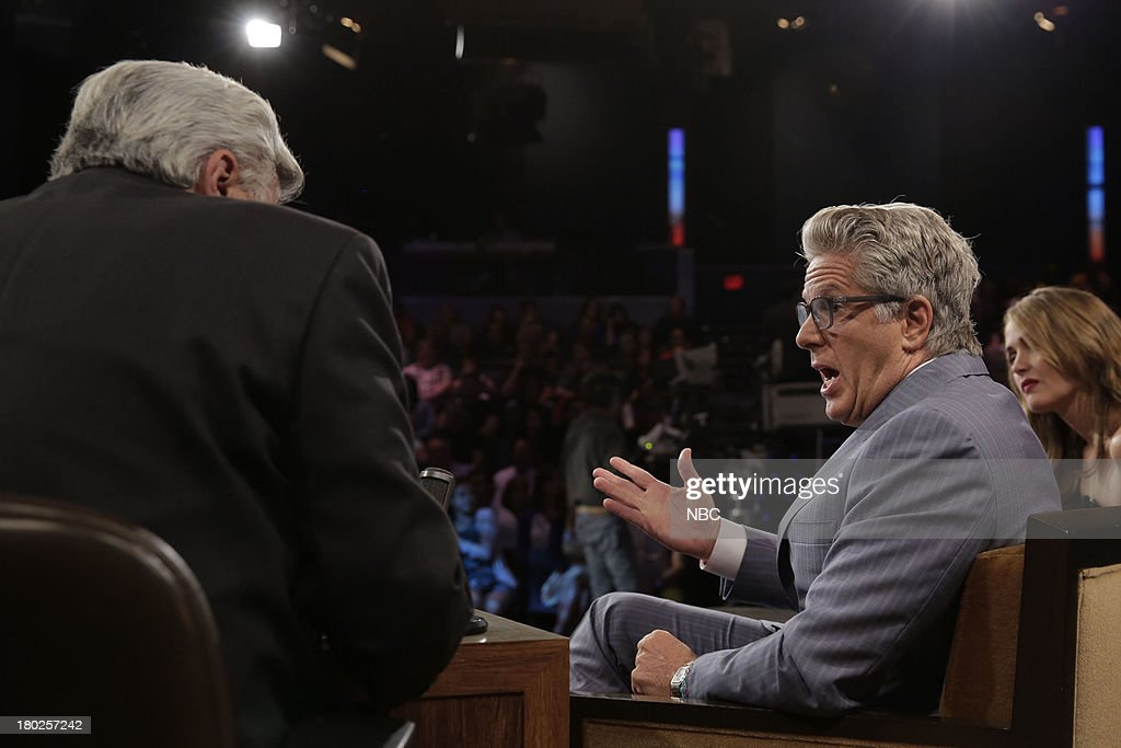 LENO -- Episode 4525 -- (EXCLUSIVE COVERAGE) -- Pictured: (l-r) Host Jay Leno talks with <a gi-track='captionPersonalityLinkClicked' href=/galleries/search?phrase=Donny+Deutsch&family=editorial&specificpeople=642511 ng-click='$event.stopPropagation()'>Donny Deutsch</a> during a commercial break on September 10, 2013 --