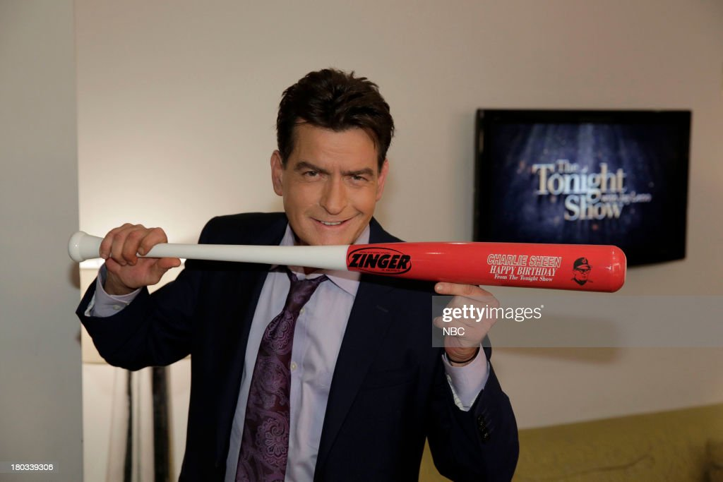 LENO -- Episode 4526 -- (EXCLUSIVE COVERAGE) -- Pictured: Actor <a gi-track='captionPersonalityLinkClicked' href=/galleries/search?phrase=Charlie+Sheen&family=editorial&specificpeople=206152 ng-click='$event.stopPropagation()'>Charlie Sheen</a> with his birthday bat on September 11, 2013 --