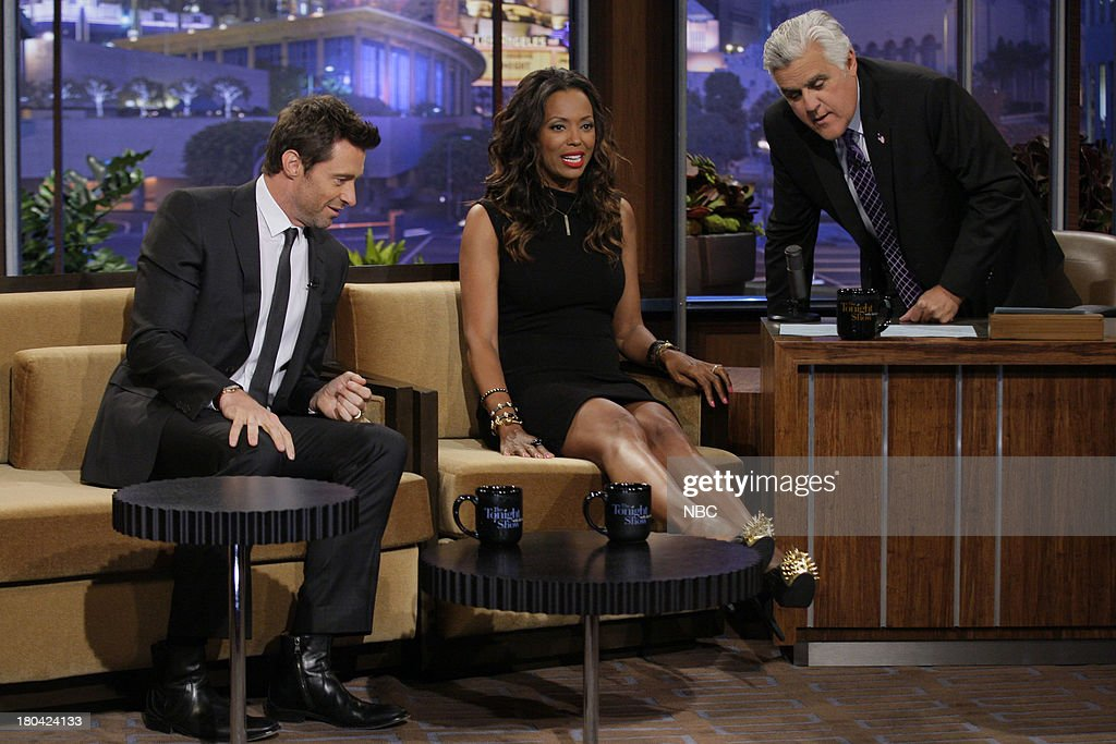 Actor Hugh Jackman and Aisha Tyler during an interview with host Jay Leno on September 12, 2013 --