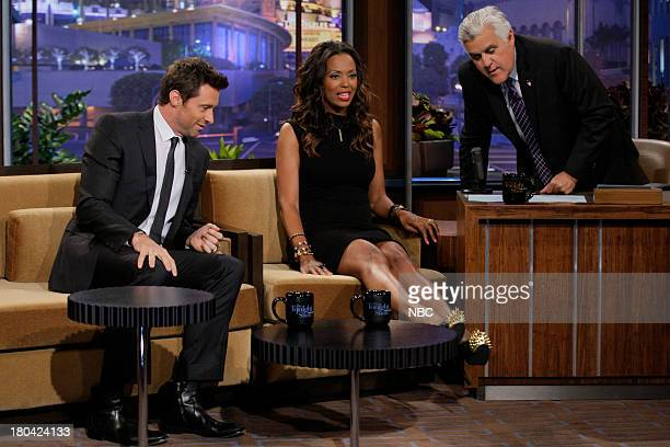 Actor Hugh Jackman and Aisha Tyler during an interview with host Jay Leno on September 12 2013