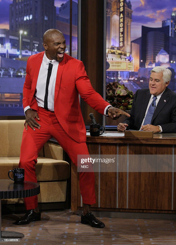 Actor <a gi-track='captionPersonalityLinkClicked' href=/galleries/search?phrase=Terry+Crews&family=editorial&specificpeople=569932 ng-click='$event.stopPropagation()'>Terry Crews</a>, during an interview with host Jay Leno on September 13, 2013 --