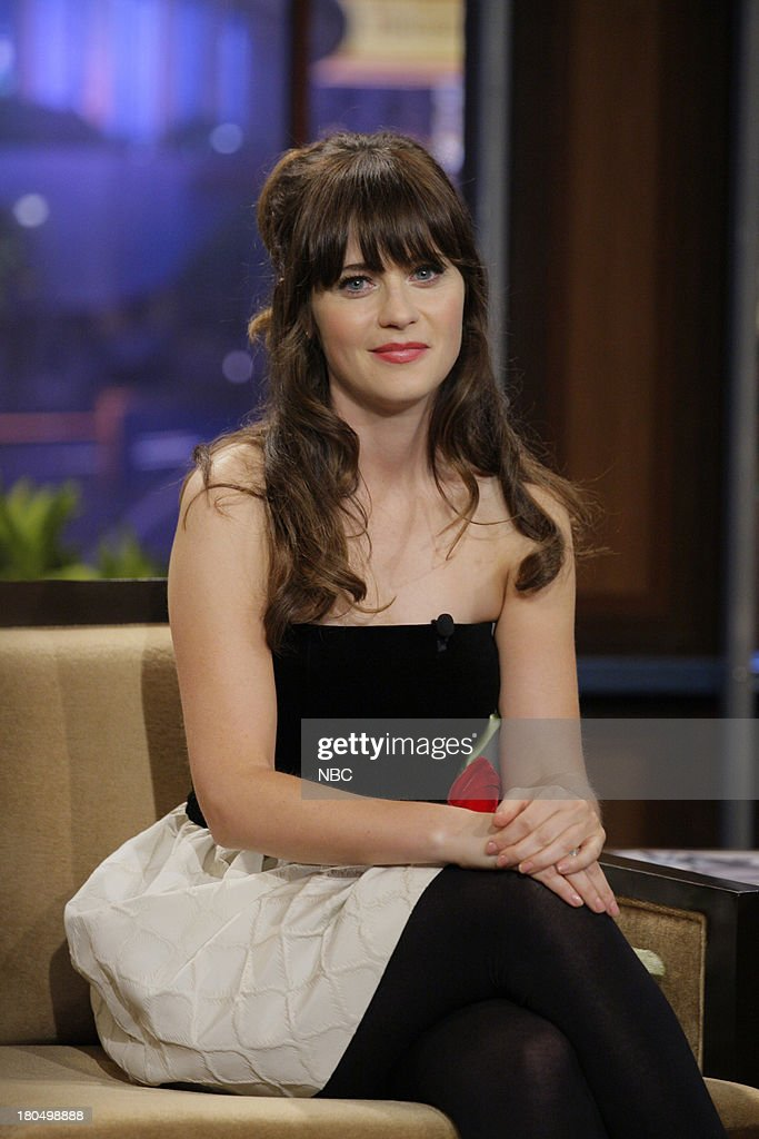 Actress <a gi-track='captionPersonalityLinkClicked' href=/galleries/search?phrase=Zooey+Deschanel&family=editorial&specificpeople=202927 ng-click='$event.stopPropagation()'>Zooey Deschanel</a> during an interview on September 13, 2013 --
