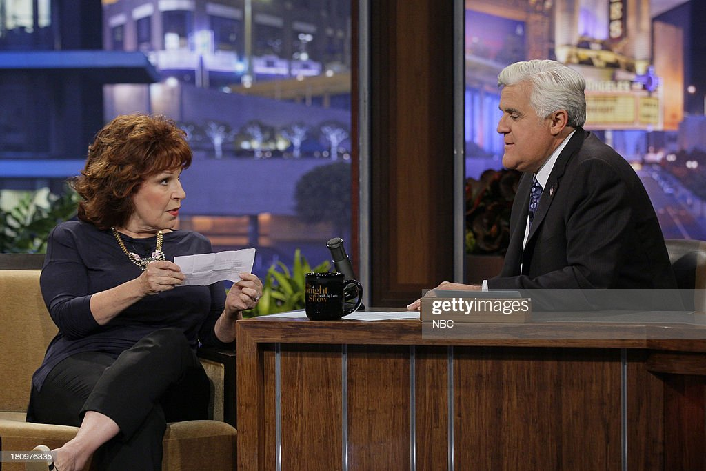 Comedian <a gi-track='captionPersonalityLinkClicked' href=/galleries/search?phrase=Joy+Behar&family=editorial&specificpeople=214608 ng-click='$event.stopPropagation()'>Joy Behar</a> during an interview with host Jay Leno on September 18, 2013 --