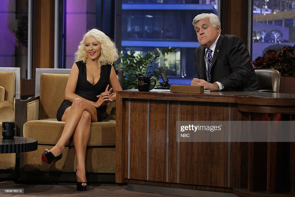 Singer <a gi-track='captionPersonalityLinkClicked' href=/galleries/search?phrase=Christina+Aguilera&family=editorial&specificpeople=171272 ng-click='$event.stopPropagation()'>Christina Aguilera</a> during an interview with host Jay Leno on September 18, 2013 --