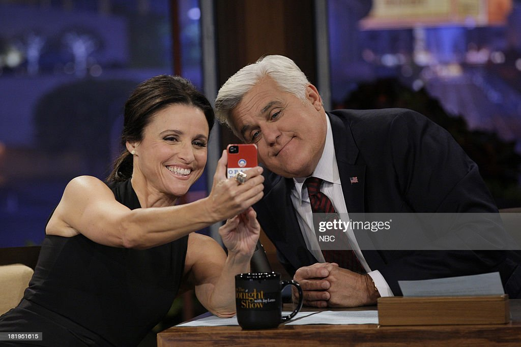 Actress <a gi-track='captionPersonalityLinkClicked' href=/galleries/search?phrase=Julia+Louis-Dreyfus&family=editorial&specificpeople=208965 ng-click='$event.stopPropagation()'>Julia Louis-Dreyfus</a> during an interview with host Jay Leno on September 26, 2013 --