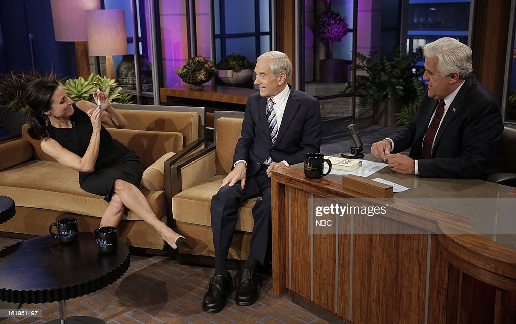 LENO -- (EXCLUSIVE COVERAGE) Episode 4537 -- Pictured: (l-r) Actress Julia Louis-Dreyfus, politician Ron, Paul, host Jay Leno on September 26, 2013 --