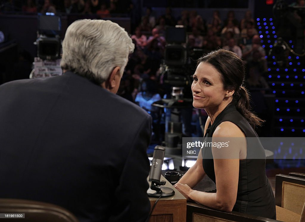 LENO -- (EXCLUSIVE COVERAGE) Episode 4537 -- Pictured: (l-r) Host Jay Leno talks with actress Julia Louis-Dreyfus during a commercial break on September 26, 2013 --