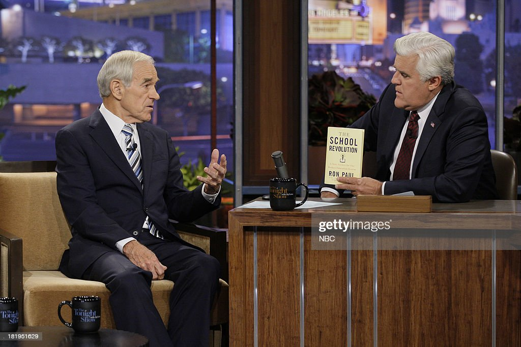 Politician <a gi-track='captionPersonalityLinkClicked' href=/galleries/search?phrase=Ron+Paul&family=editorial&specificpeople=2300665 ng-click='$event.stopPropagation()'>Ron Paul</a> during an interview with host Jay Leno on September 26, 2013 --