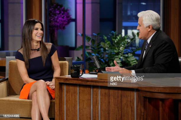 Actress Sandra Bullock during an interview with host Jay Leno on September 27 2013
