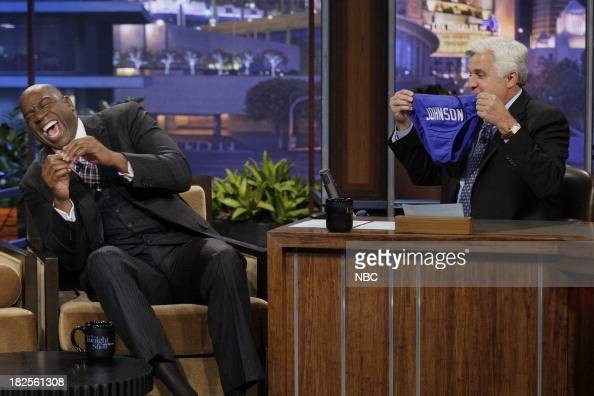 Former NBA Basketball player Earvin 'Magic' Johnson during an interview with host Jay Leno on September 30 2013