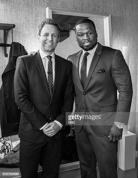 MEYERS Episode 454 Pictured Host Seth Meyers with Curtis '50 Cent' Jackson backstage on November 23 2016