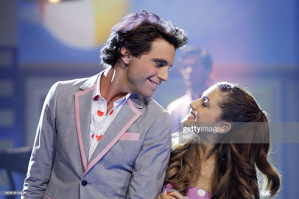 Musical guest Mika and <a gi-track='captionPersonalityLinkClicked' href=/galleries/search?phrase=Ariana+Grande&family=editorial&specificpeople=5586219 ng-click='$event.stopPropagation()'>Ariana Grande</a> perform on October 1, 2013 --