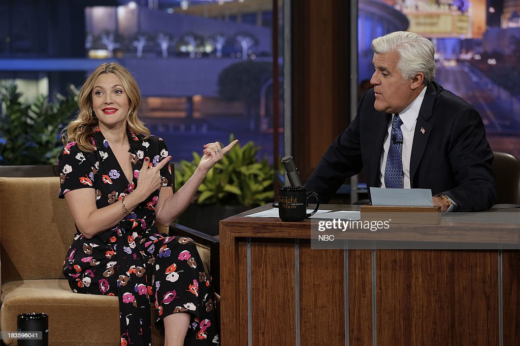 Actress Drew Barrymore during an interview with host Jay Leno on October 7, 2013 --