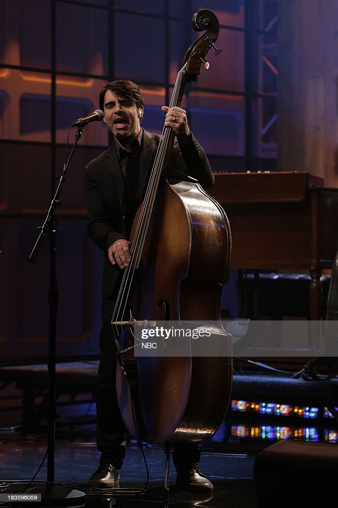 Bob Crawford of musical guest The Avett Brothers performs on October 7, 2013 --