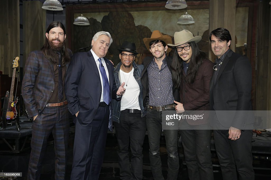 LENO -- Episode 4544 -- (EXCLUSIVE COVERAGE) -- Pictured: (l-r) <a gi-track='captionPersonalityLinkClicked' href=/galleries/search?phrase=Seth+Avett&family=editorial&specificpeople=4271007 ng-click='$event.stopPropagation()'>Seth Avett</a>, Jay Leno, D.L. Hughly, <a gi-track='captionPersonalityLinkClicked' href=/galleries/search?phrase=Scott+Avett&family=editorial&specificpeople=4271008 ng-click='$event.stopPropagation()'>Scott Avett</a>, Joe Kwon, Bob Crawford on October 7, 2013 --