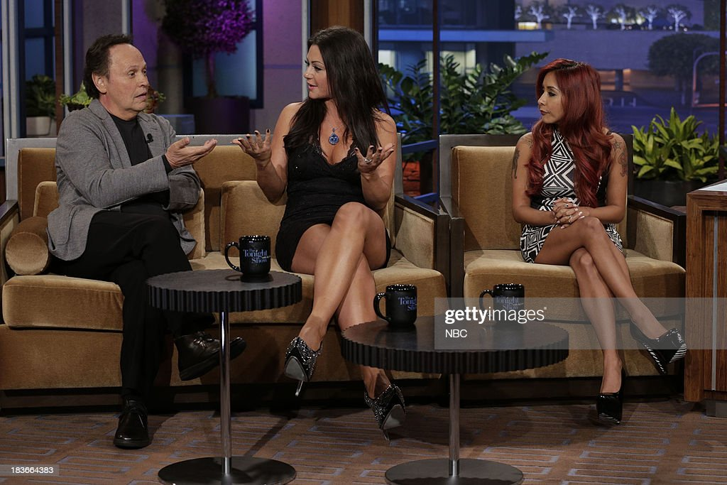 Comedian Billy Crystal and Jennifer 'JWoww' Farley and Nicole 'Snooki' Polizzi during an interview on October 8, 2013 --