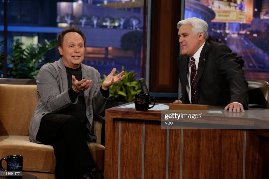 Comedian <a gi-track='captionPersonalityLinkClicked' href=/galleries/search?phrase=Billy+Crystal&family=editorial&specificpeople=202497 ng-click='$event.stopPropagation()'>Billy Crystal</a> during an interview with host Jay Leno on October 8, 2013 --