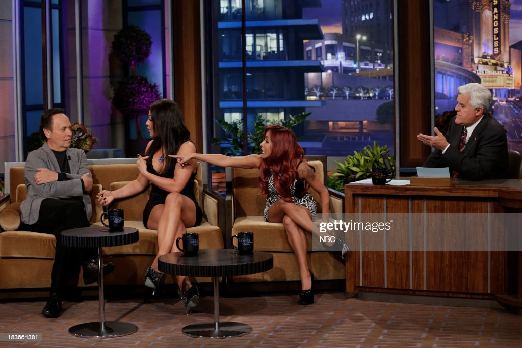 Comedian Billy Crystal, Jennifer 'JWoww' Farley and Nicole 'Snooki' Polizzi during an interview with host Jay Leno on October 8, 2013 --