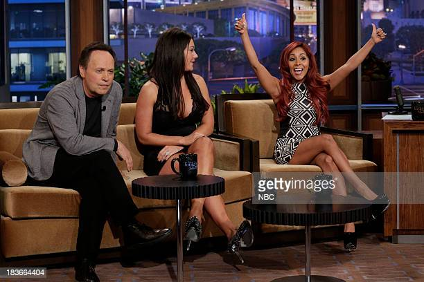 Comedian Billy Crystal Jennifer 'JWoww' Farley and Nicole 'Snooki' Polizzi during an interview on October 8 2013