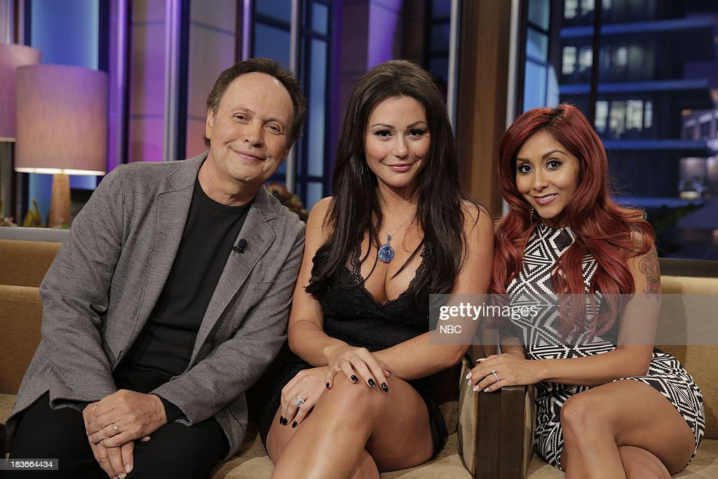 LENO -- Episode 4545 -- (EXCLUSIVE COVERAGE) -- Pictured: (l-r) Comedian Billy Crystal, Jennifer 'JWoww' Farley and Nicole 'Snooki' Polizzi during a commercial break on October 8, 2013 --
