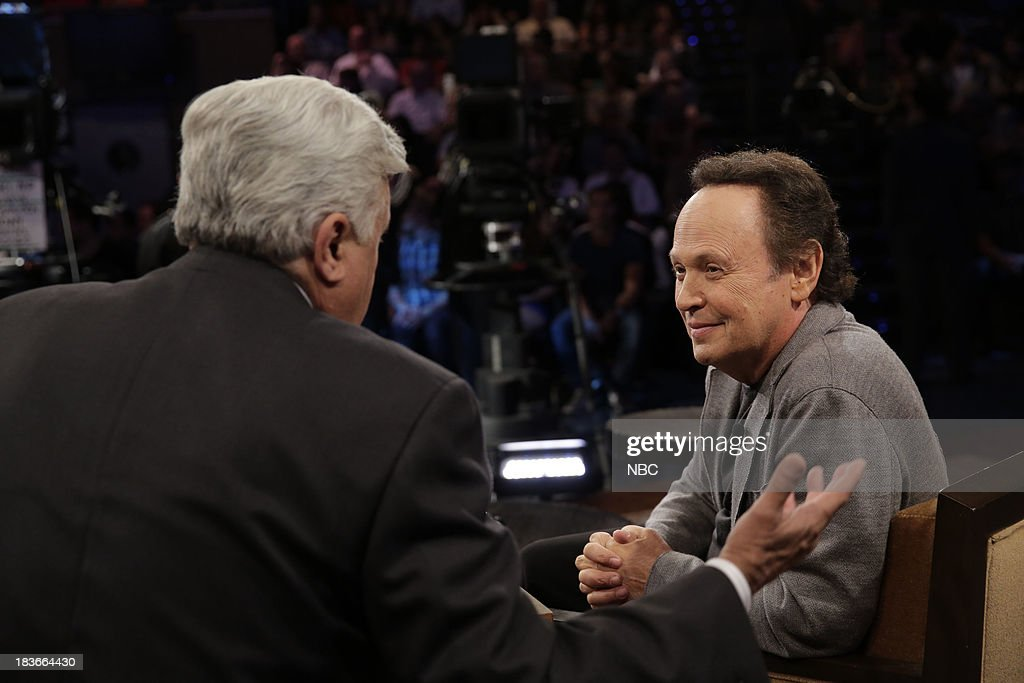 LENO -- Episode 4545 -- (EXCLUSIVE COVERAGE) -- Pictured: (l-r) Host Jay Leno talks with comedian <a gi-track='captionPersonalityLinkClicked' href=/galleries/search?phrase=Billy+Crystal&family=editorial&specificpeople=202497 ng-click='$event.stopPropagation()'>Billy Crystal</a> during a commerical break on October 8, 2013 --