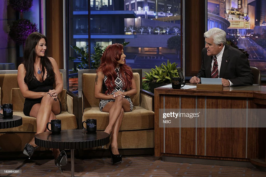 Jennifer 'JWoww' Farley and Nicole 'Snooki' Polizzi during an interview with host Jay Leno on October 8, 2013 --