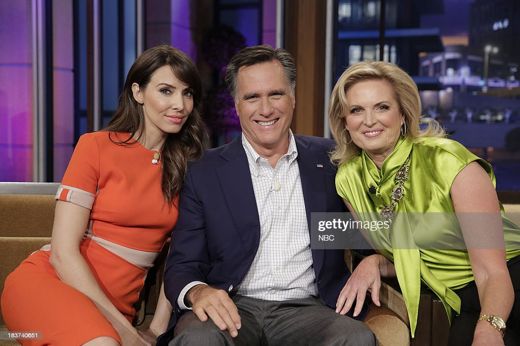 LENO -- Episode 4546 -- (EXCLUSIVE COVERAGE) -- Pictured: (l-r) Comedian <a gi-track='captionPersonalityLinkClicked' href=/galleries/search?phrase=Whitney+Cummings&family=editorial&specificpeople=240395 ng-click='$event.stopPropagation()'>Whitney Cummings</a> with <a gi-track='captionPersonalityLinkClicked' href=/galleries/search?phrase=Mitt+Romney&family=editorial&specificpeople=207106 ng-click='$event.stopPropagation()'>Mitt Romney</a> and <a gi-track='captionPersonalityLinkClicked' href=/galleries/search?phrase=Ann+Romney&family=editorial&specificpeople=868004 ng-click='$event.stopPropagation()'>Ann Romney</a> during a commerical break on October 9, 2013 --