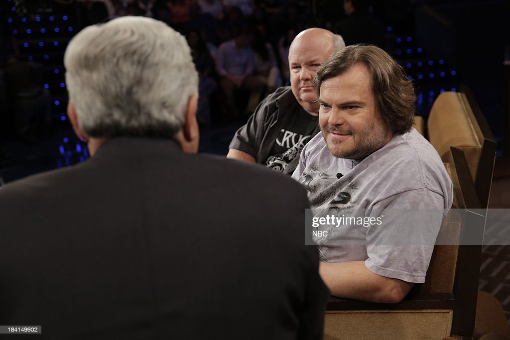 LENO -- Episode 4548 -- (EXCLUSIVE COVERAGE) -- Pictured: (l-r) Host Jay Leno talks with Jack Black and Kyle Gass of Tenacious D during a commercial break on October 11, 2013 --
