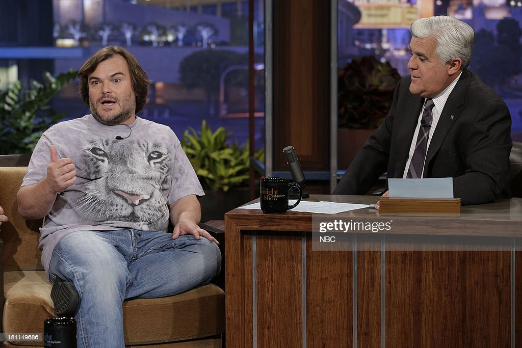 Jack Black of Tenacious D during an interview with host Jay Leno on October 11, 2013 --