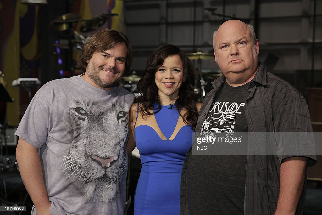 LENO -- Episode 4548 -- (EXCLUSIVE COVERAGE) -- Pictured: (l-r) Jack Black, Rosie Perez and Kyle Gass on October 11, 2013 --
