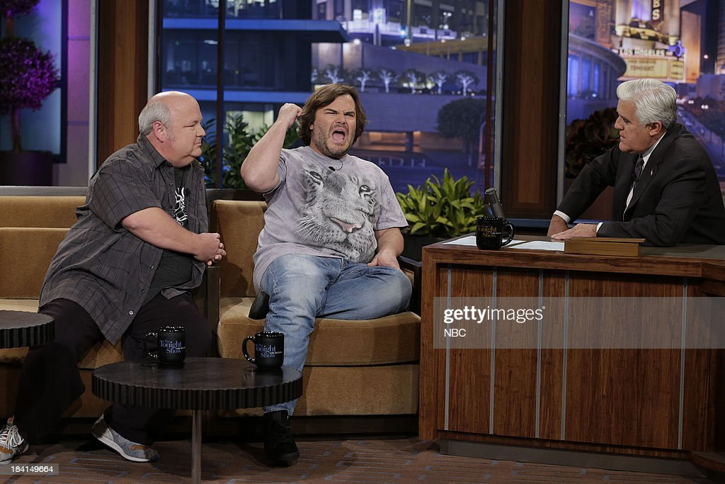 Kyle Gass and Jack Black of Tenacious D during an interview with host Jay Leno on October 11, 2013 --