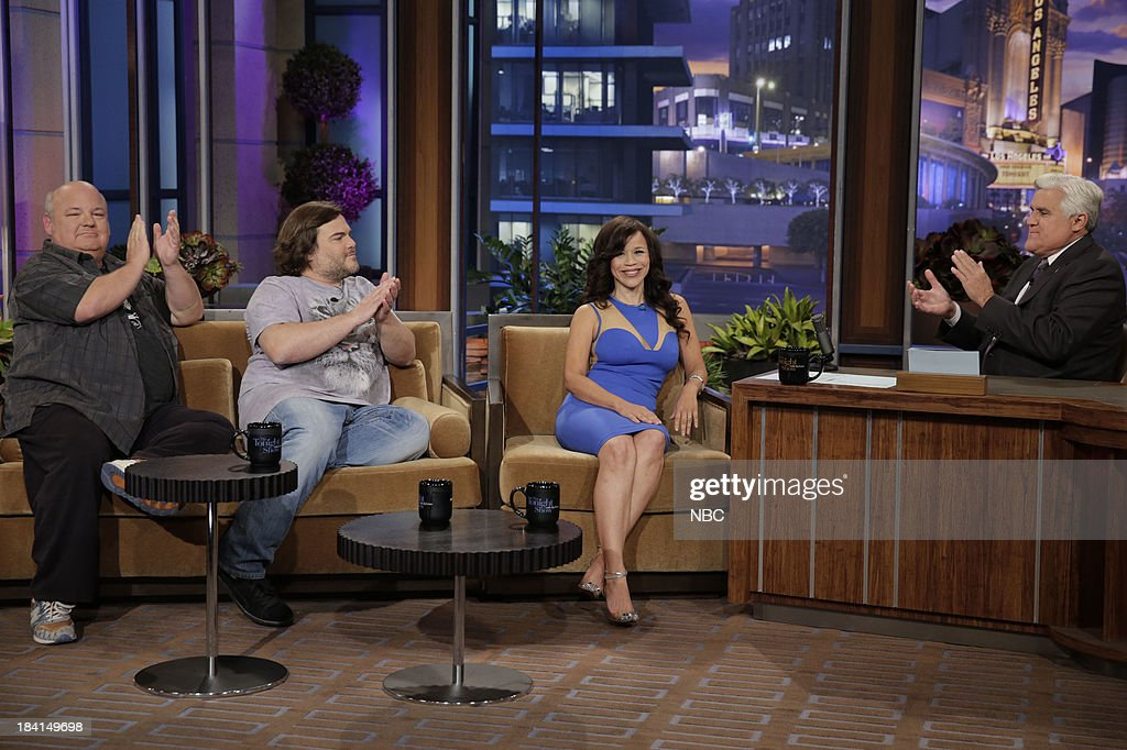 Kyle Gass, Jack Black of Tenacious D and actress Rosie Perez during an interview with host Jay Leno on October 11, 2013 --