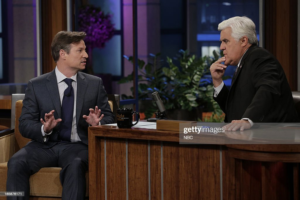 Journalist <a gi-track='captionPersonalityLinkClicked' href=/galleries/search?phrase=Richard+Engel&family=editorial&specificpeople=4159098 ng-click='$event.stopPropagation()'>Richard Engel</a> during an interview with host Jay Leno on October 25, 2013 --
