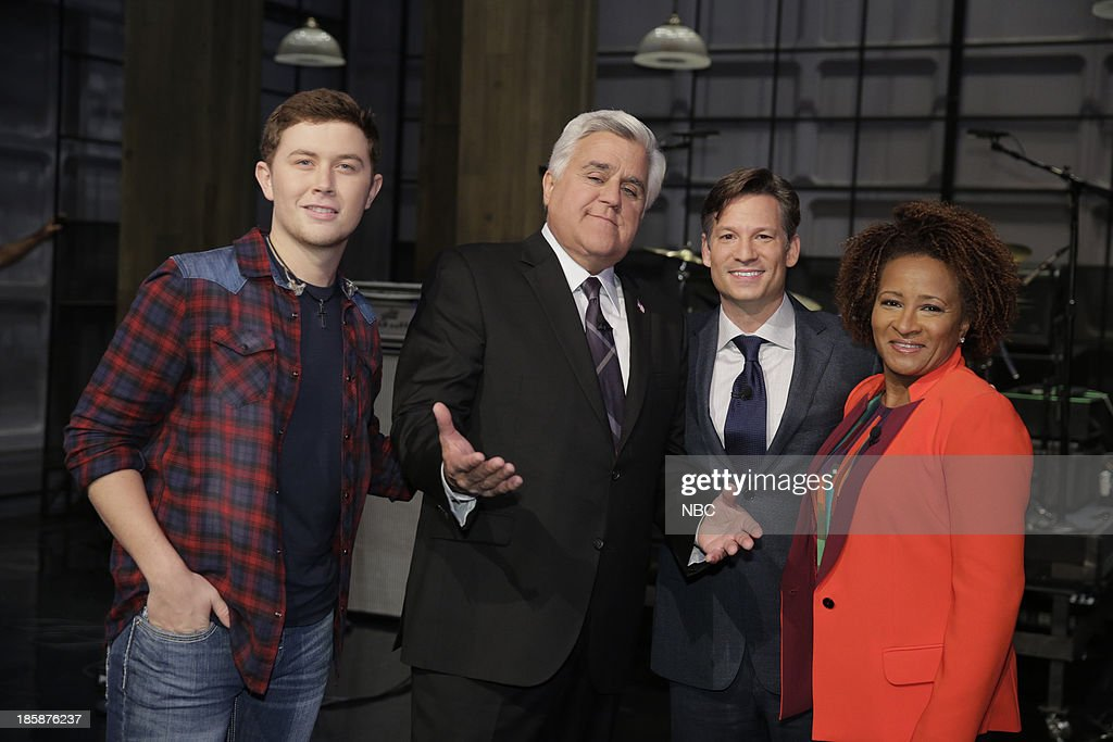 LENO -- Episode 4553 -- (EXCLUSIVE COVERAGE) -- Pictured: (l-r) Musical guest <a gi-track='captionPersonalityLinkClicked' href=/galleries/search?phrase=Scotty+McCreery&family=editorial&specificpeople=7520936 ng-click='$event.stopPropagation()'>Scotty McCreery</a>, host Jay Leno, journalist <a gi-track='captionPersonalityLinkClicked' href=/galleries/search?phrase=Richard+Engel&family=editorial&specificpeople=4159098 ng-click='$event.stopPropagation()'>Richard Engel</a> and comedian <a gi-track='captionPersonalityLinkClicked' href=/galleries/search?phrase=Wanda+Sykes&family=editorial&specificpeople=208075 ng-click='$event.stopPropagation()'>Wanda Sykes</a> on October 25, 2013 --