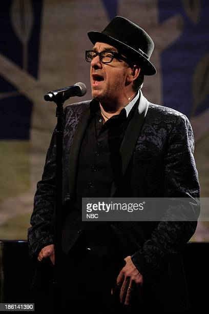 Musical guest Elvis Costello performs on October 28 2013