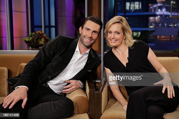 LENO Episode 4554 Pictured Singer Adam Levine and comedian Ali Wentworth during a commercial break on October 28 2013
