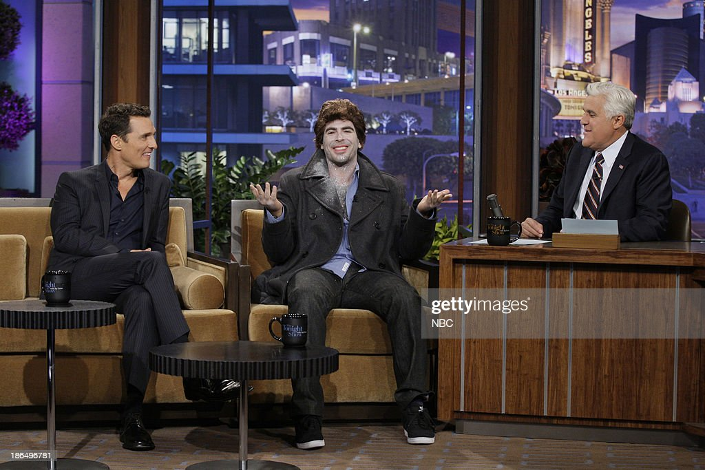 Actor Matthew McConaughey, director Eli Roth during an interview with host Jay Leno on October 31, 2013 --