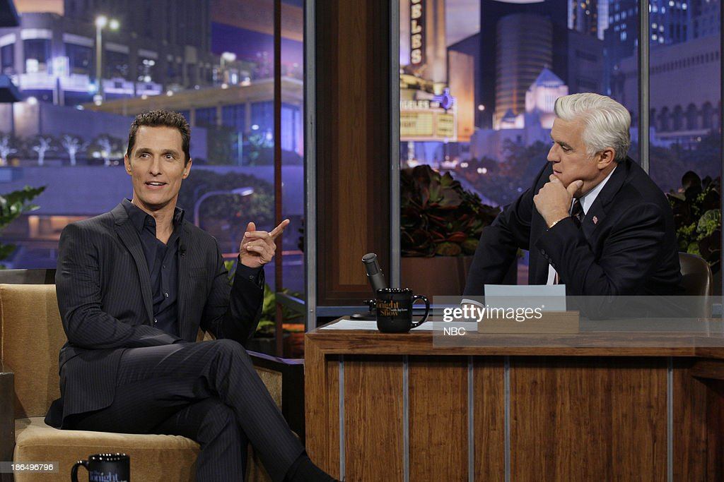 Actor <a gi-track='captionPersonalityLinkClicked' href=/galleries/search?phrase=Matthew+McConaughey&family=editorial&specificpeople=201663 ng-click='$event.stopPropagation()'>Matthew McConaughey</a> during an interview with host Jay Leno on October 31, 2013 --