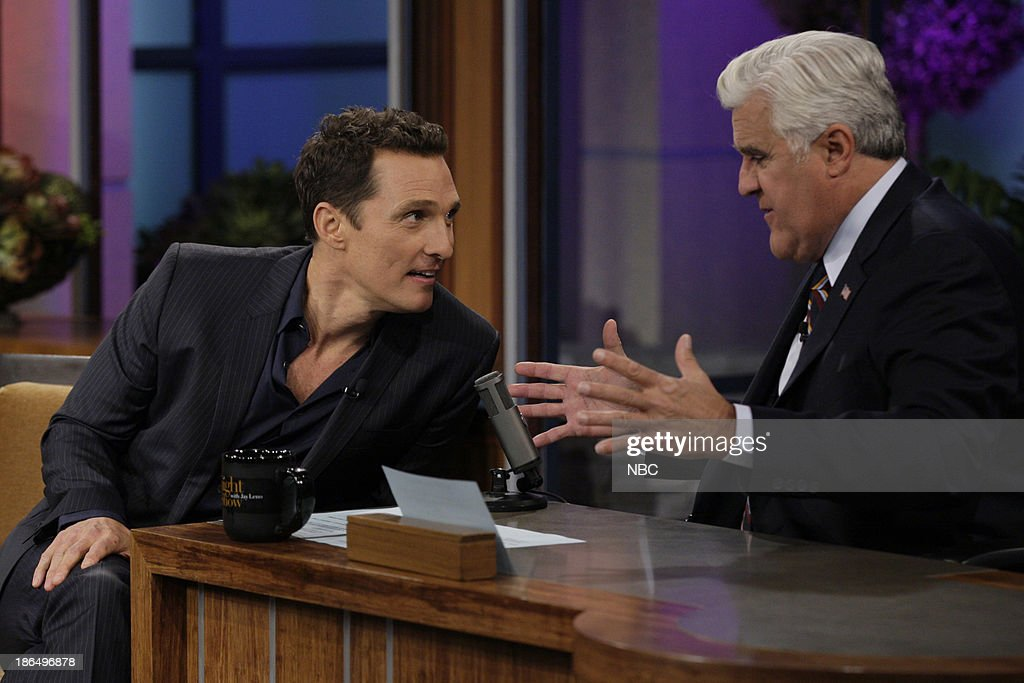LENO -- Episode 4557 -- (EXCLUSIVE COVERAGE) -- Pictured: (l-r) Actor <a gi-track='captionPersonalityLinkClicked' href=/galleries/search?phrase=Matthew+McConaughey&family=editorial&specificpeople=201663 ng-click='$event.stopPropagation()'>Matthew McConaughey</a> talks with host Jay Leno during a commerical break on October 31, 2013 --