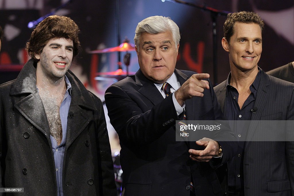 Director <a gi-track='captionPersonalityLinkClicked' href=/galleries/search?phrase=Eli+Roth&family=editorial&specificpeople=543948 ng-click='$event.stopPropagation()'>Eli Roth</a>, host Jay Leno and actor <a gi-track='captionPersonalityLinkClicked' href=/galleries/search?phrase=Matthew+McConaughey&family=editorial&specificpeople=201663 ng-click='$event.stopPropagation()'>Matthew McConaughey</a> on October 31, 2013 --