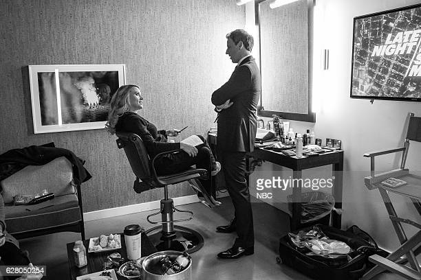 MEYERS Episode 456 Pictured Comedian Kate McKinnon talks with host Seth Meyers backstage on December 5 2016