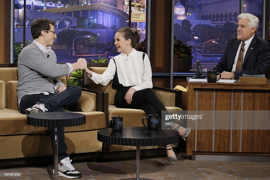 Actor Andy Samberg, actress Bailee Madison during an interview with host Jay Leno on November 7, 2013 --