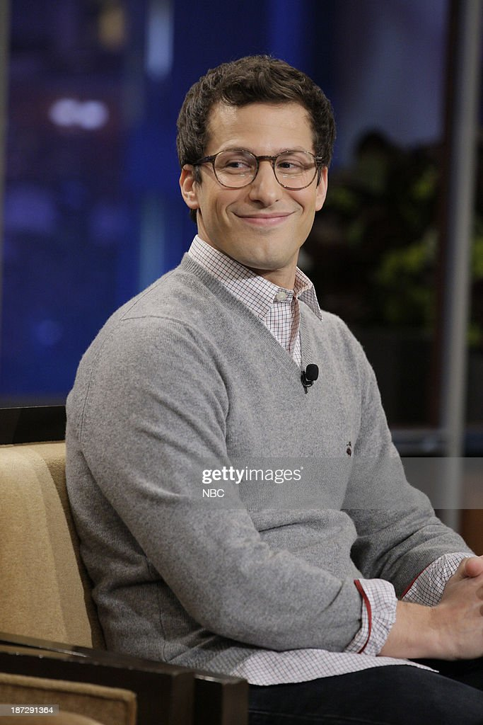 LENO -- Episode 4562 -- (EXCLUSIVE COVERAGE) -- Pictured: Actor <a gi-track='captionPersonalityLinkClicked' href=/galleries/search?phrase=Andy+Samberg&family=editorial&specificpeople=595651 ng-click='$event.stopPropagation()'>Andy Samberg</a> during a commercial break on November 7, 2013 --