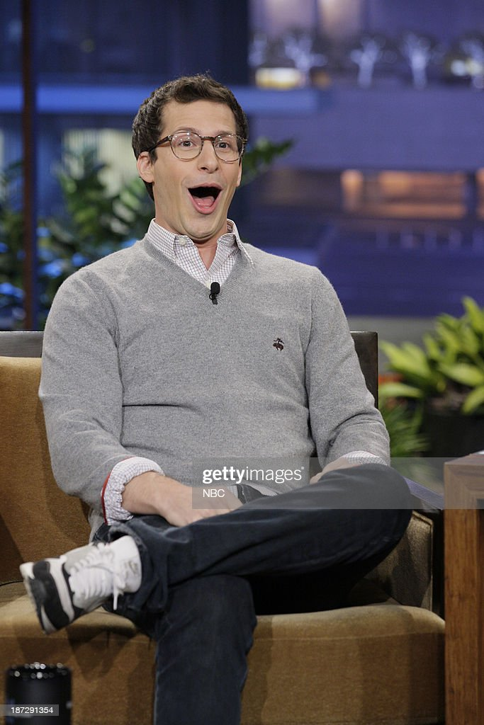 Actor <a gi-track='captionPersonalityLinkClicked' href=/galleries/search?phrase=Andy+Samberg&family=editorial&specificpeople=595651 ng-click='$event.stopPropagation()'>Andy Samberg</a> during an interview on November 7, 2013 --