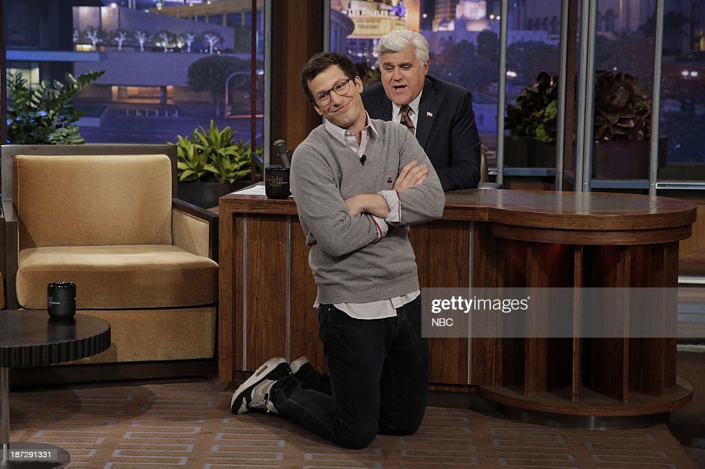 Actor Andy Samberg during an interview with host Jay Leno on November 7, 2013 --