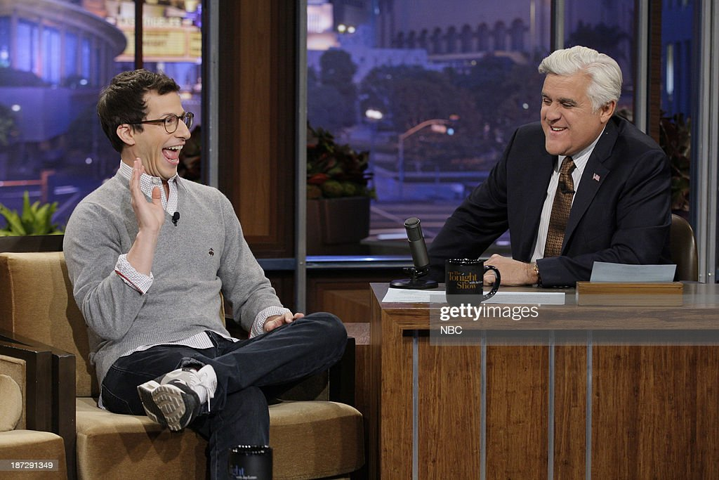Actor <a gi-track='captionPersonalityLinkClicked' href=/galleries/search?phrase=Andy+Samberg&family=editorial&specificpeople=595651 ng-click='$event.stopPropagation()'>Andy Samberg</a> during an interview with host Jay Leno on November 7, 2013 --