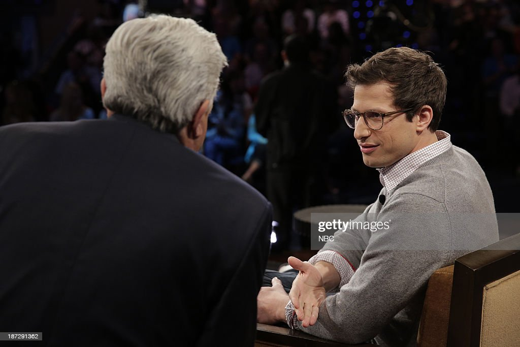 LENO -- Episode 4562 -- (EXCLUSIVE COVERAGE) -- Pictured: (l-r) Host Jay Leno talks to actor <a gi-track='captionPersonalityLinkClicked' href=/galleries/search?phrase=Andy+Samberg&family=editorial&specificpeople=595651 ng-click='$event.stopPropagation()'>Andy Samberg</a> during a commercial break on November 7, 2013 --