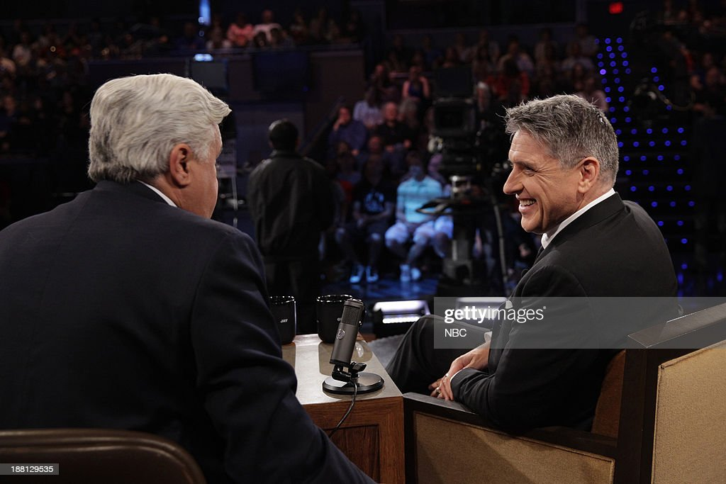 LENO -- (EXCLUSIVE COVERAGE) Episode 4567 -- Pictured: (l-r) Host Jay Leno talks to Talk show host <a gi-track='captionPersonalityLinkClicked' href=/galleries/search?phrase=Craig+Ferguson+-+Talk+Show+Host&family=editorial&specificpeople=204509 ng-click='$event.stopPropagation()'>Craig Ferguson</a> during a commercial break on November 14, 2013 --