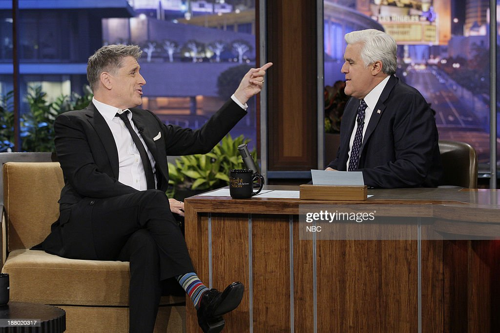 Talk show host <a gi-track='captionPersonalityLinkClicked' href=/galleries/search?phrase=Craig+Ferguson+-+Presentador+de+Talk+Show&family=editorial&specificpeople=204509 ng-click='$event.stopPropagation()'>Craig Ferguson</a> during an interview with host Jay Leno on November 14, 2013 --