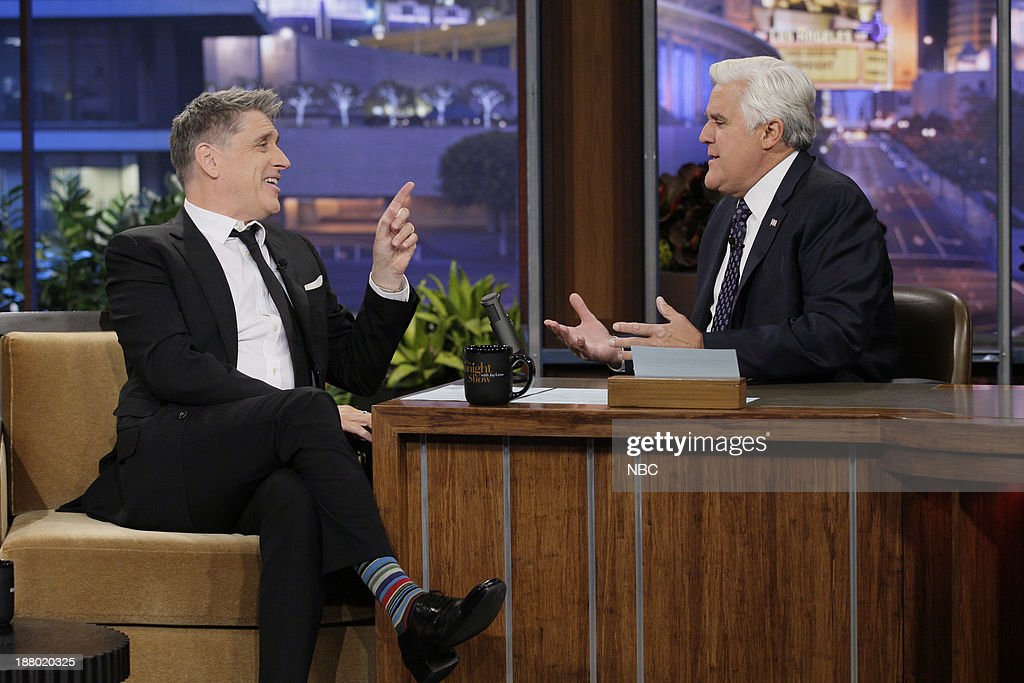 Talk show host <a gi-track='captionPersonalityLinkClicked' href=/galleries/search?phrase=Craig+Ferguson+-+Talkshow-Moderator&family=editorial&specificpeople=204509 ng-click='$event.stopPropagation()'>Craig Ferguson</a> during an interview with host Jay Leno on November 14, 2013 --